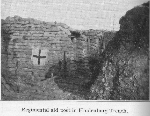 Regimental aid post in Hindenburg Trench.