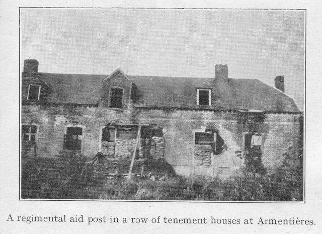 A regimental aid post in a row of tenement houses Armenti�res.